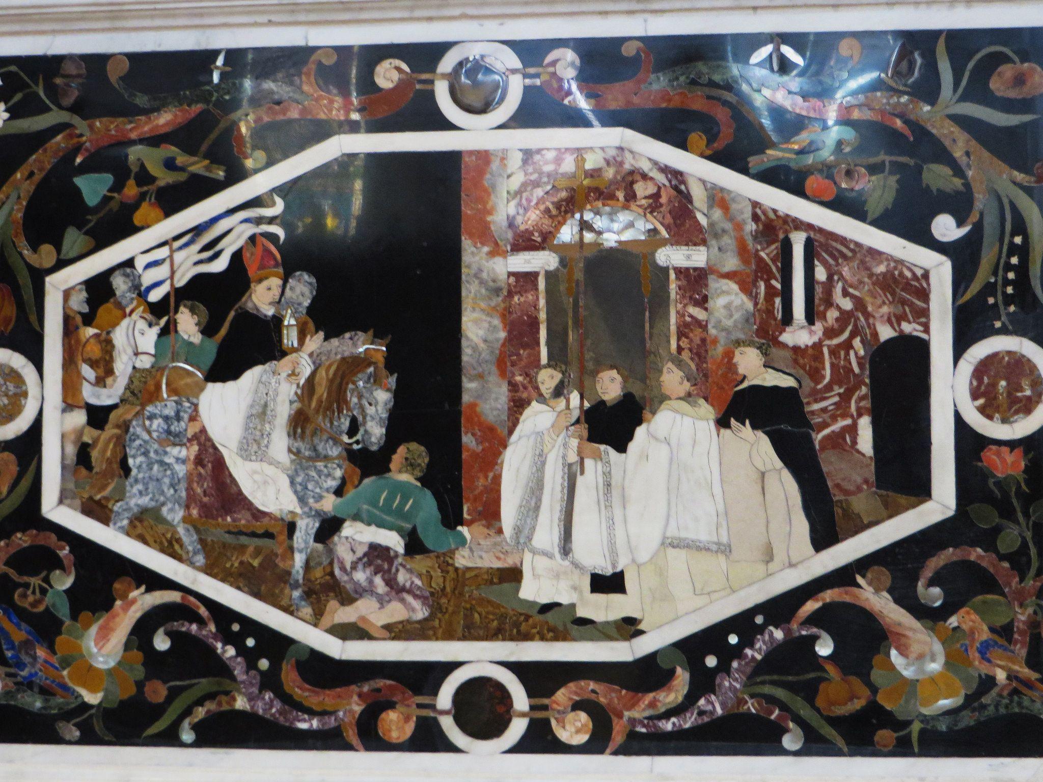 Marqueterie De Pierres Dures Matre-autel 1667-1669 Glise Santa Corona Xiiie Contr