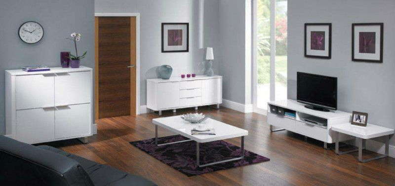 New accent white high gloss scratch resistant living - White gloss living room furniture sets ...