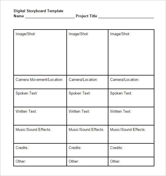 Digital Storyboard Template 6 Free Word Excel Pdf Ppt Format