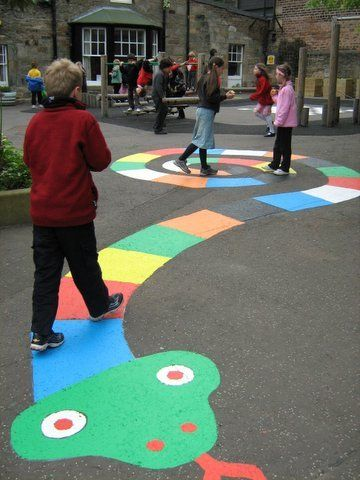 ground mural and game, this would be fun in the drive way with sidewalk chalk paint