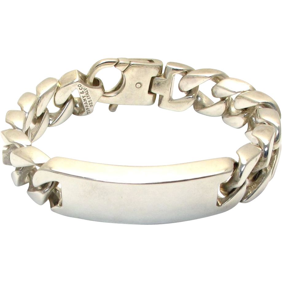 Tiffany Co Very Large Men S Id Bracelet Heavy Curb Link Sterling Silver 138 4g Tiffany Bracelets Id Bracelets Bracelets