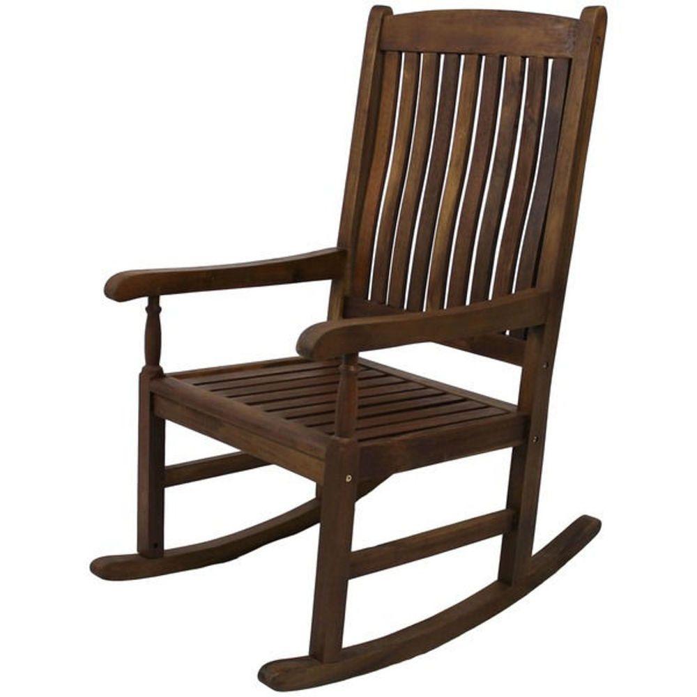 Wooden Rocking Chair Porch Rocker Outdoor Patio Lawn Deck Yard Sturdy  Furniture #Caravan
