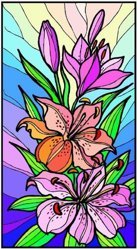 Purple Orange Stargazer Lily Flowers Glass FilmStained