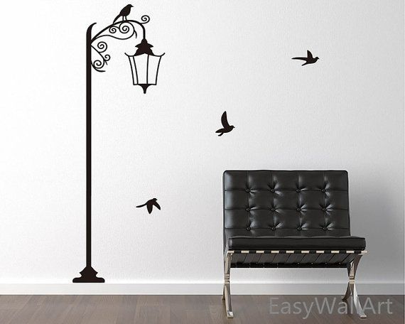 street lamp with birds wall decal for living-room, bedroom, office