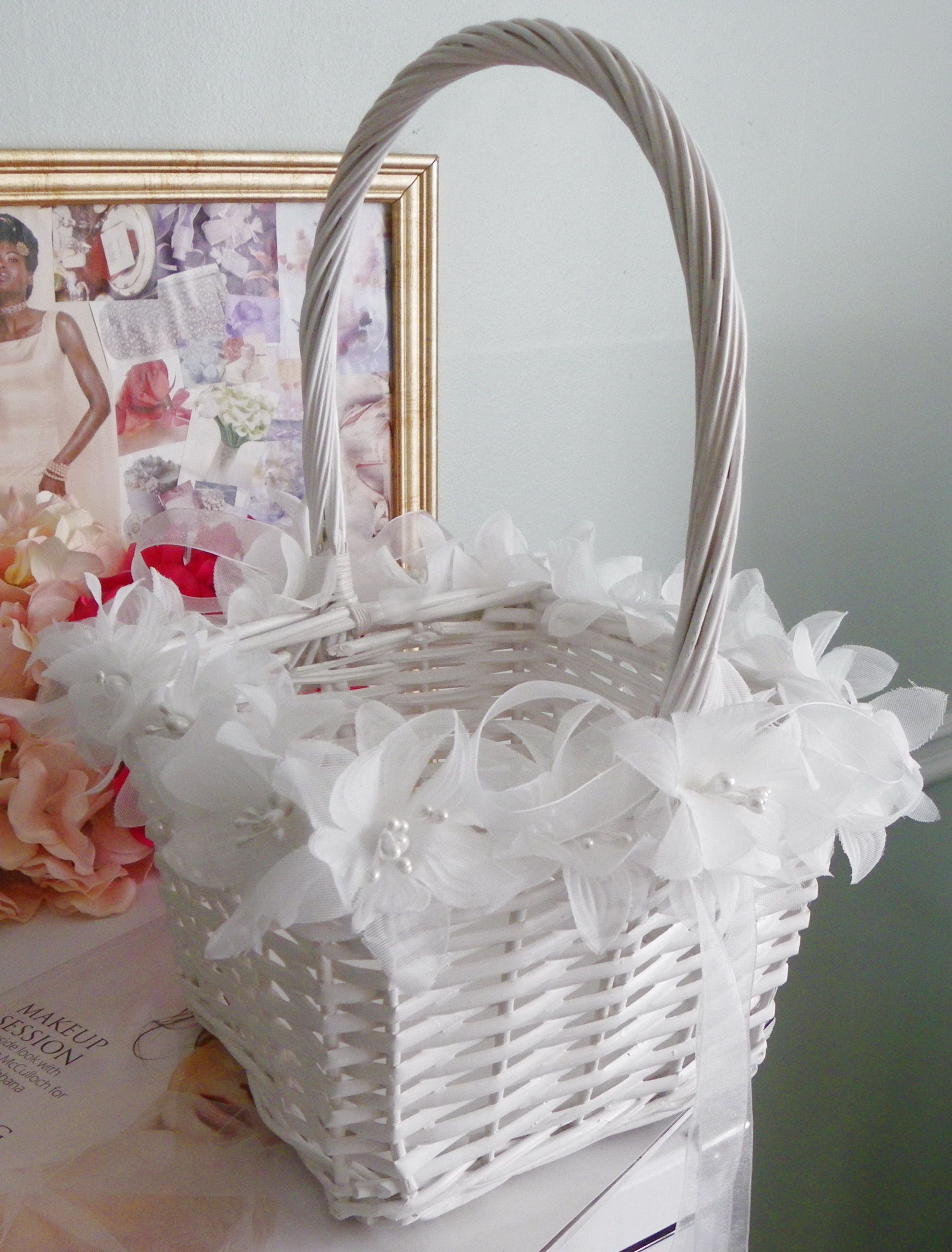White Wicker Flower Girl Basket Accented With Chiffon Flowers And