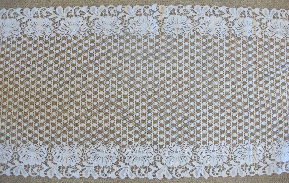 Vintage Cotton Nottingham Lace table runner ,valance, craft, fabric