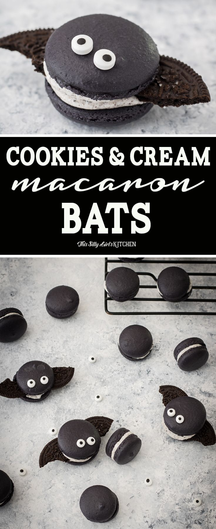 Cookies and Cream Macaron Bats #halloweenmacarons