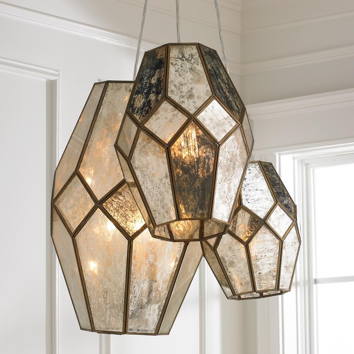 Mercury Glass Prism Chandelier Stained Glass Light Glass Pendant Light Mercury Glass Chandelier