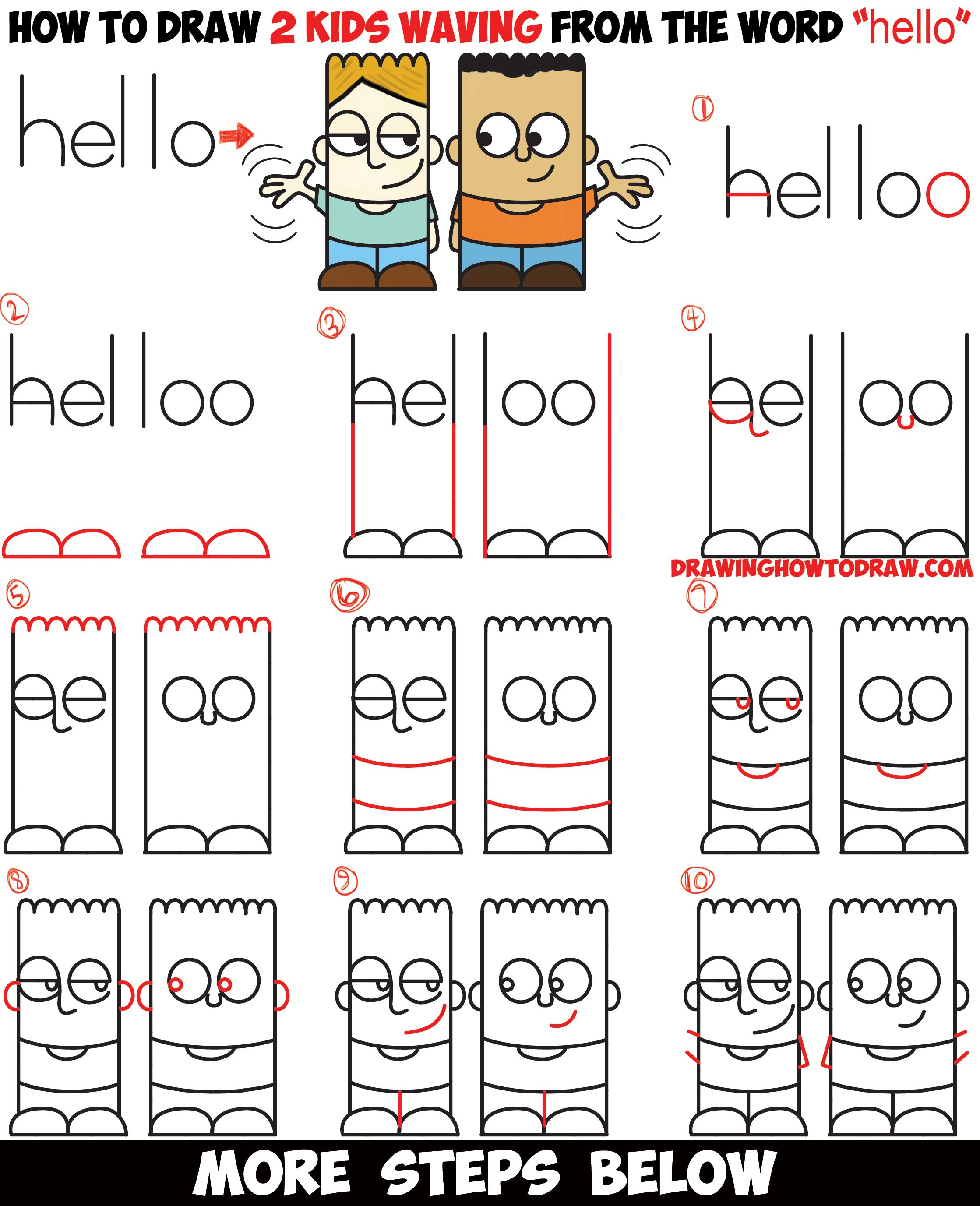 How To Draw 2 Cartoon Characters From The Word Hello Easy Step By Step Word Toon Drawing Tutorial For Kids How To Draw Step By Step Drawing Tutorials Drawing Tutorials