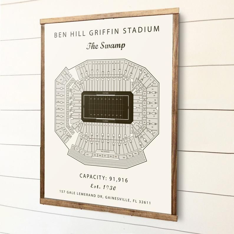 Benn Hill Griffin Stadium Seating Chart Florida Gators University Of Florida Gifts For Men Paper First Anniversary Florida Artwork Florida Artwork Seating Charts Paper Gifts Anniversary