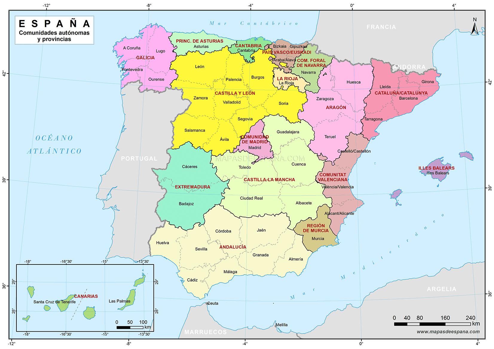 Mapa Flash Provincias Espana.Mapa Comunidades Y Provincias De Espana En 2020 Mapa De Espana Mapas Espana