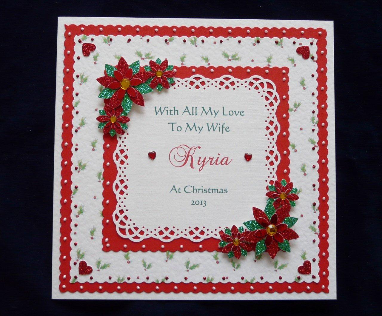 Christmas Card Wife/Husband/Girlfriend/Mum etc 8x8 inch Handmade 2018 Personalised