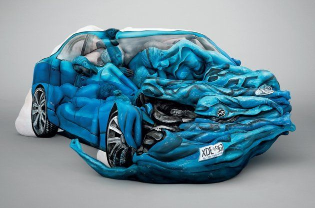 Amazing body art car is a crashing success is part of Body art painting, Body art, Car art, Painting people, Art, Body painting - Auto accidents and people don't mix…unless they're the work of Australian body artist Emma Hack, in which case they mix rather beautifully  Hack used 17 men and women to build the dented car sculpture in support of the Motor Accident Commision of South Australia, who used it to highlight the
