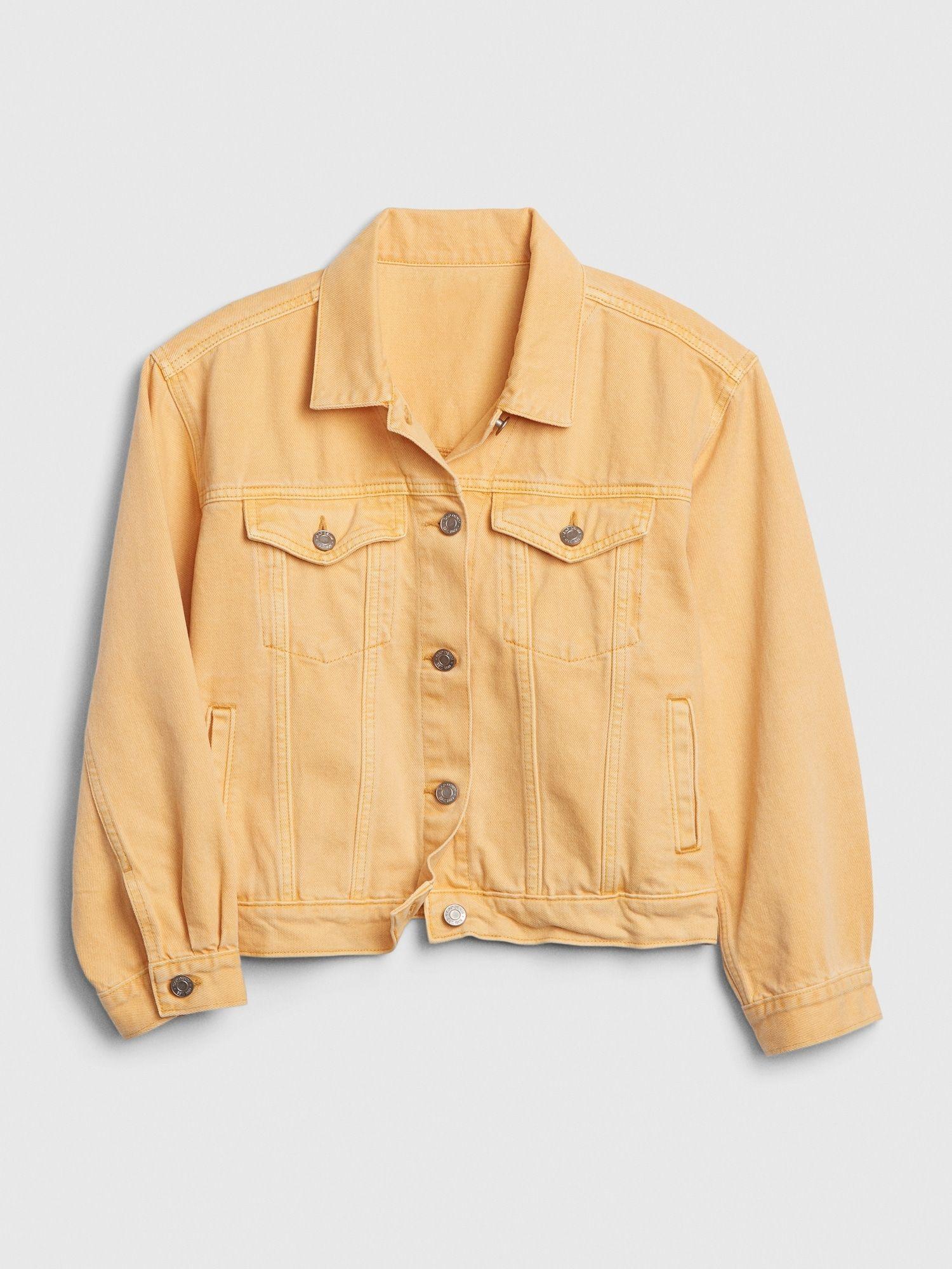 Gap Crop Icon Denim Jacket Orange Nectar Denim Jacket Jackets Yellow Denim [ 2000 x 1500 Pixel ]