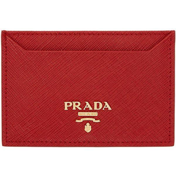Prada Red logo leather cardholder VNjxcG