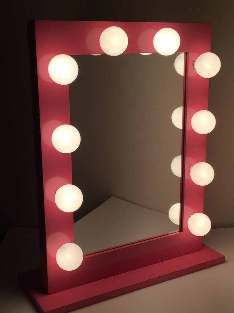 Xl Hollywood Lighted Make Up Vanity Backstage Mirror Chic Pink Big