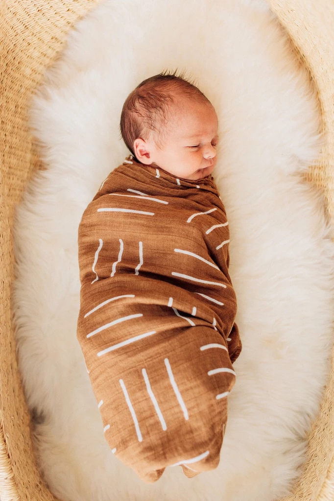 Mustard Mudcloth Muslin Swaddle Blanket #babyboyblankets