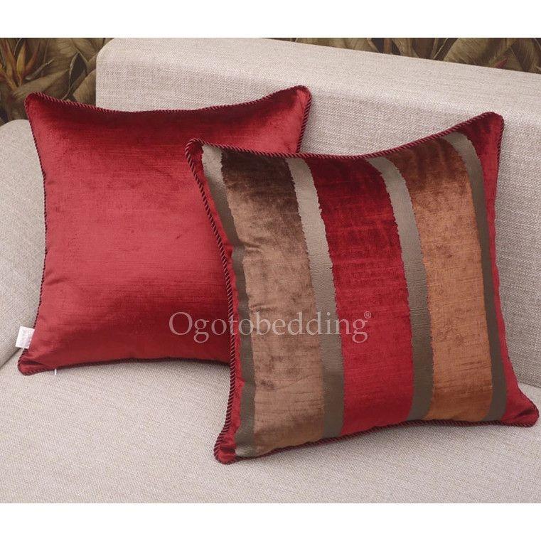 Dark Red Throw Pillows.Dark Red Striped Designer Luxury Decorative Pillows Living
