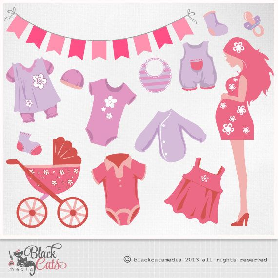 Superb Baby Shower Clip Art ,mommy To Be, Baby Clothes, Girl Shower,pink, Personal  And Commercial Use   INSTANT DOWNLOAD Eps And Png