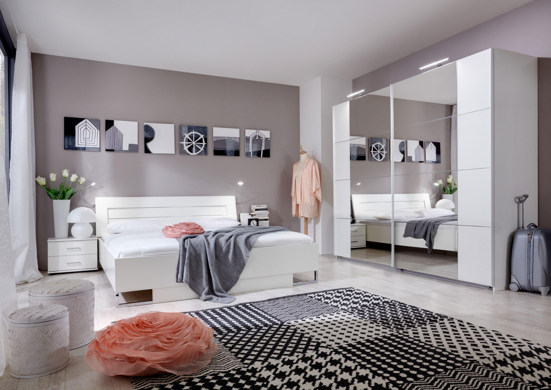 Schlafzimmer Mit Bett 180 X 200 Cm Alpinweiss/ Aufleistung