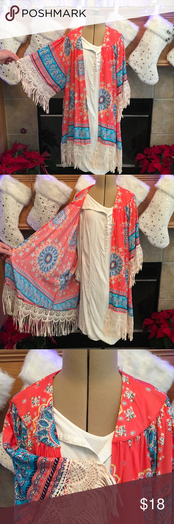"""PRINTED KIMNO-SIZE IS SMALL/MEDIUM-MEDIUM/LARGE LIGHT WEIGHT 60% COTTON-40% POLYESTER-SMALL/MEDIUM ARMHOLE DISTANCE IS ABOUT 27""""-LENGTH IS ABOUT 27 1/2""""-FRINGE IS ABOUT 6""""-MEDIUM/LARGE ARMHOLE DISTANCE IS ABOUT 28""""-LENGTH IS ABOUT 29"""" WITH A 6"""" FRINGE Other"""