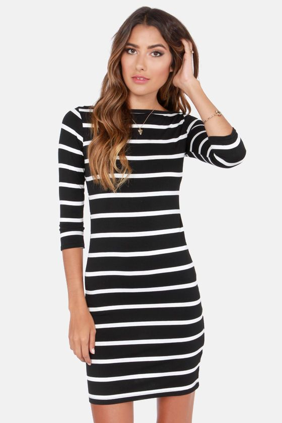 b22afeb42c3c Heir Lines Black Striped Dress. Finally a dress long enough to wear with  tights and boots :)