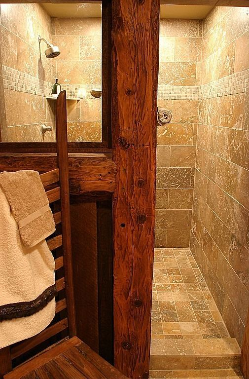 Walk In Shower Entry No Glass Door Love The Lack Of Cleaning This Would Require By Deli Rustic Master Bathroom Rustic Bathroom Remodel Rustic Bathroom Designs