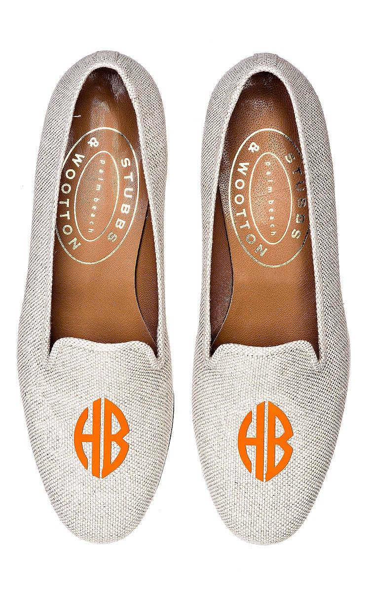 Stubbs And Wootton Linen Loafer With Neon Orange Monogram by Stubbs