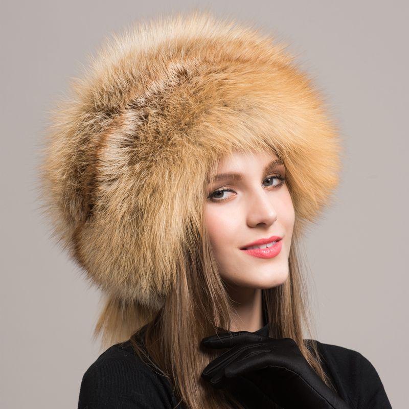 d5f9ad69ec9 Fashion Women Fox Fur Hat Russian Real Fox Fur Genuine Leather Hats For  Women Protect Earflap Warm Beanies Hat Caps BSD112