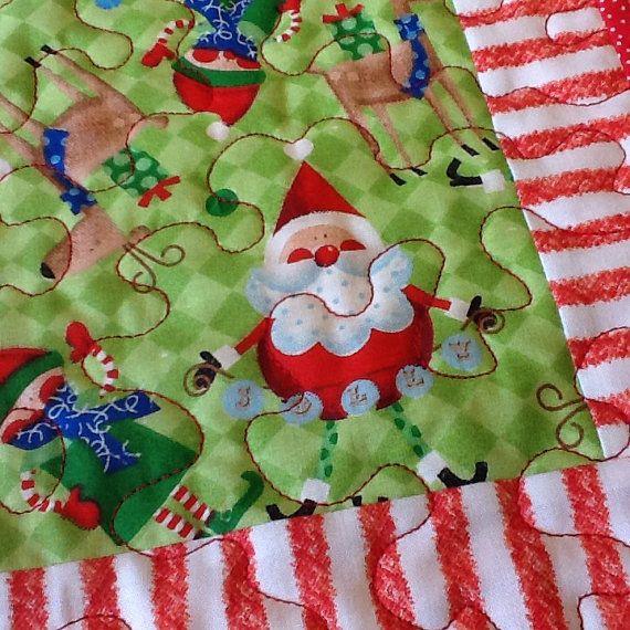 Whimsical Christmas Mug Rug, Red and Green Holiday Candle Mat ...