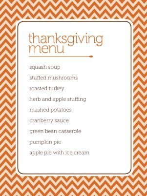4 Thanksgiving Menus From HGTV Magazine Hgtv magazine - free kids menu templates