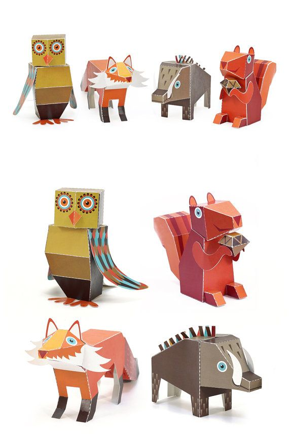 Forest Animals Paper Toys Diy Paper Craft Kit 3d Paper By Pukaca