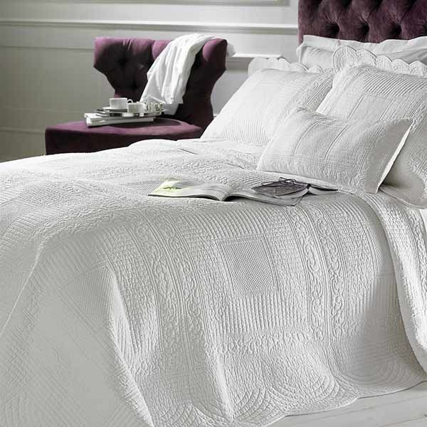 Details About Naples Embossed 100% Cotton Quilted Bedspread, White