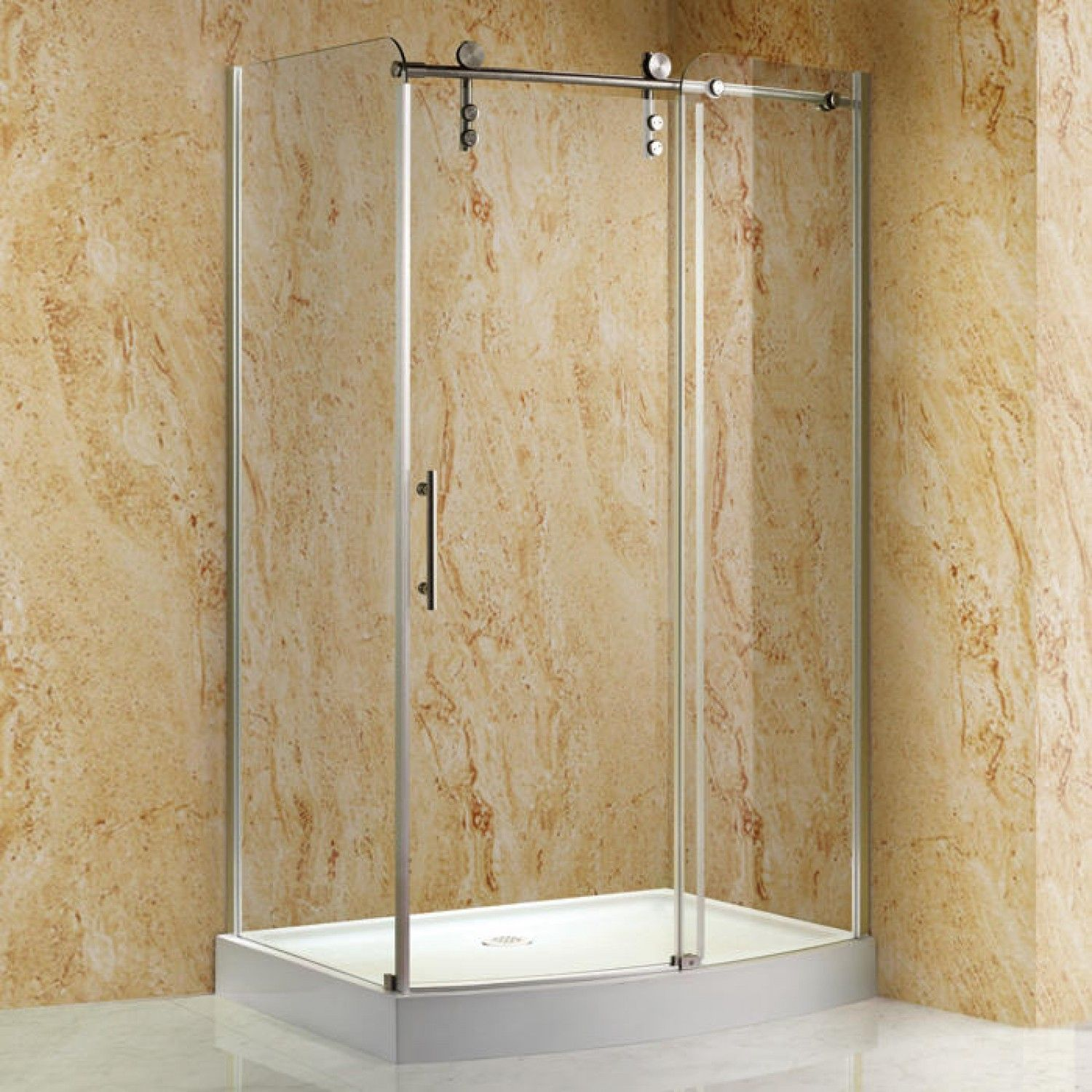 48 Rectangular Corner Shower Enclosure With Curved Front
