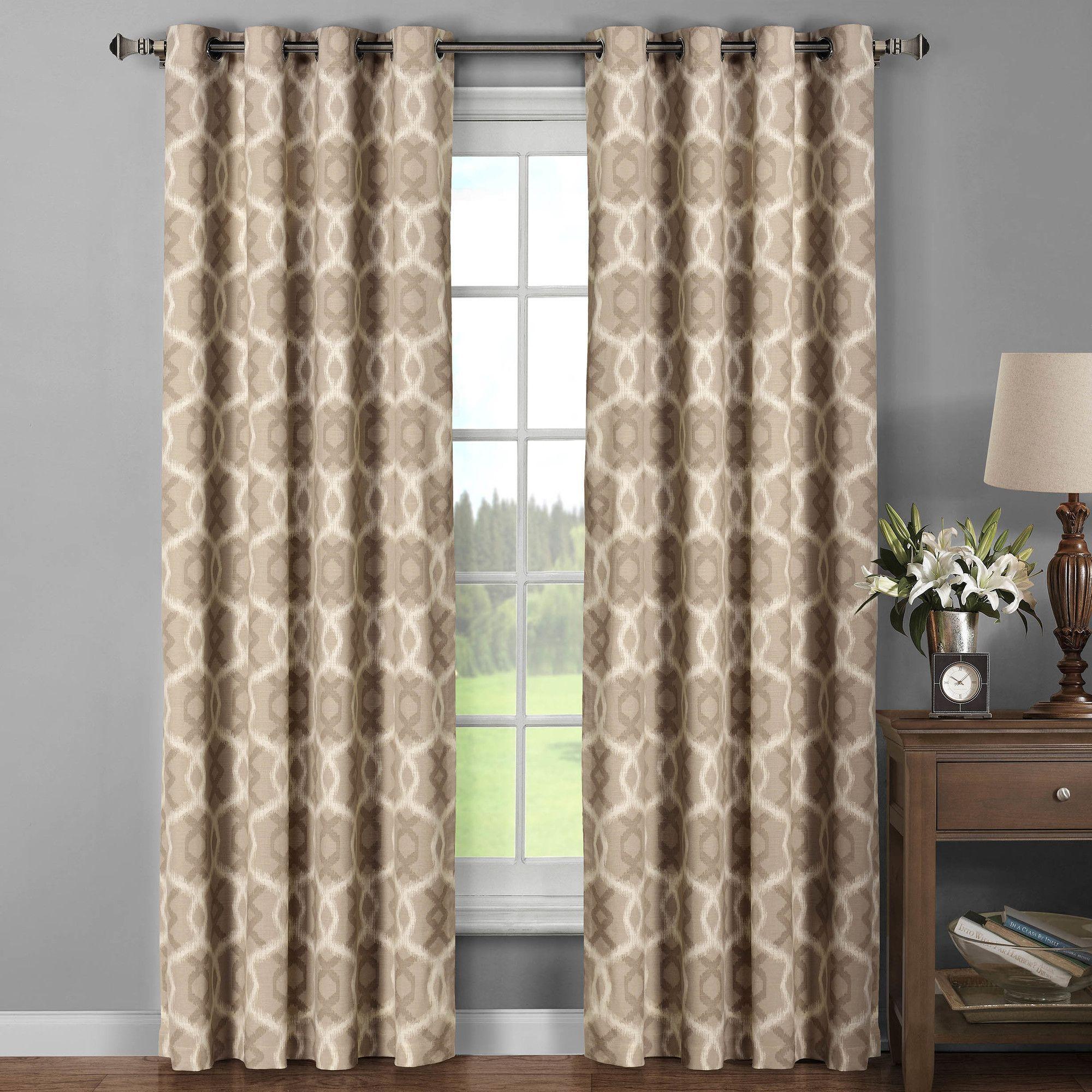 Avila Printed Cotton Extra Wide Grommet Curtain Panels  Extra Wide Curtain Panels