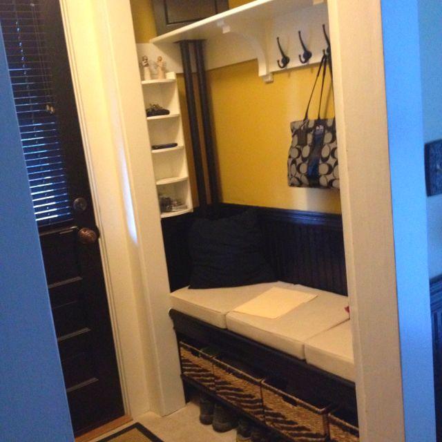 Foyer Nook Ideas : Coat closet makeover into entryway bench nook home