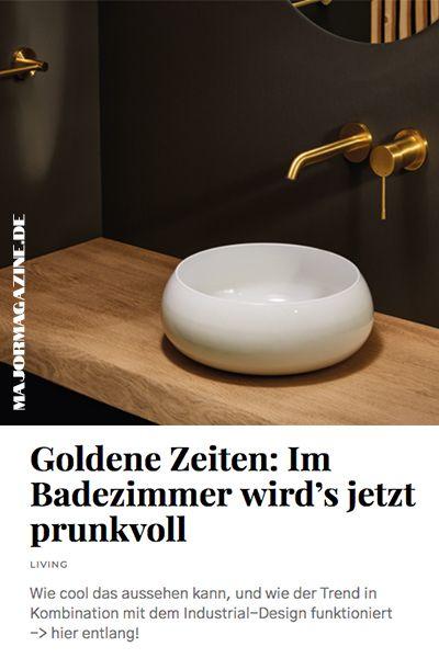 Old, but Gold: So schön glänzt es jetzt im Badezimmer; Wie cool das aussehen kann, beweist uns ein Trend, der eigentlich für Minimalismus und ein offenes Raumkonzept steht: das Industrial-Design. Beton(-Optiken), Metall und Quarz-Materialien haben allerdings längst die Wohn- und Küchengestaltung überschritten und sind ins Bad gewandert. #gold #kupfer #bathroom #badezimmer #decoration #interior #design