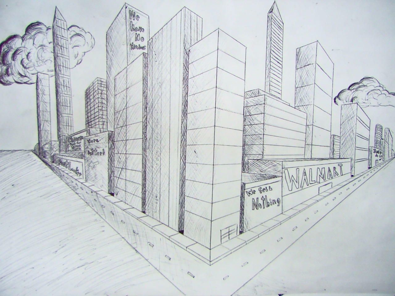 2 Point Perspective City Student Work