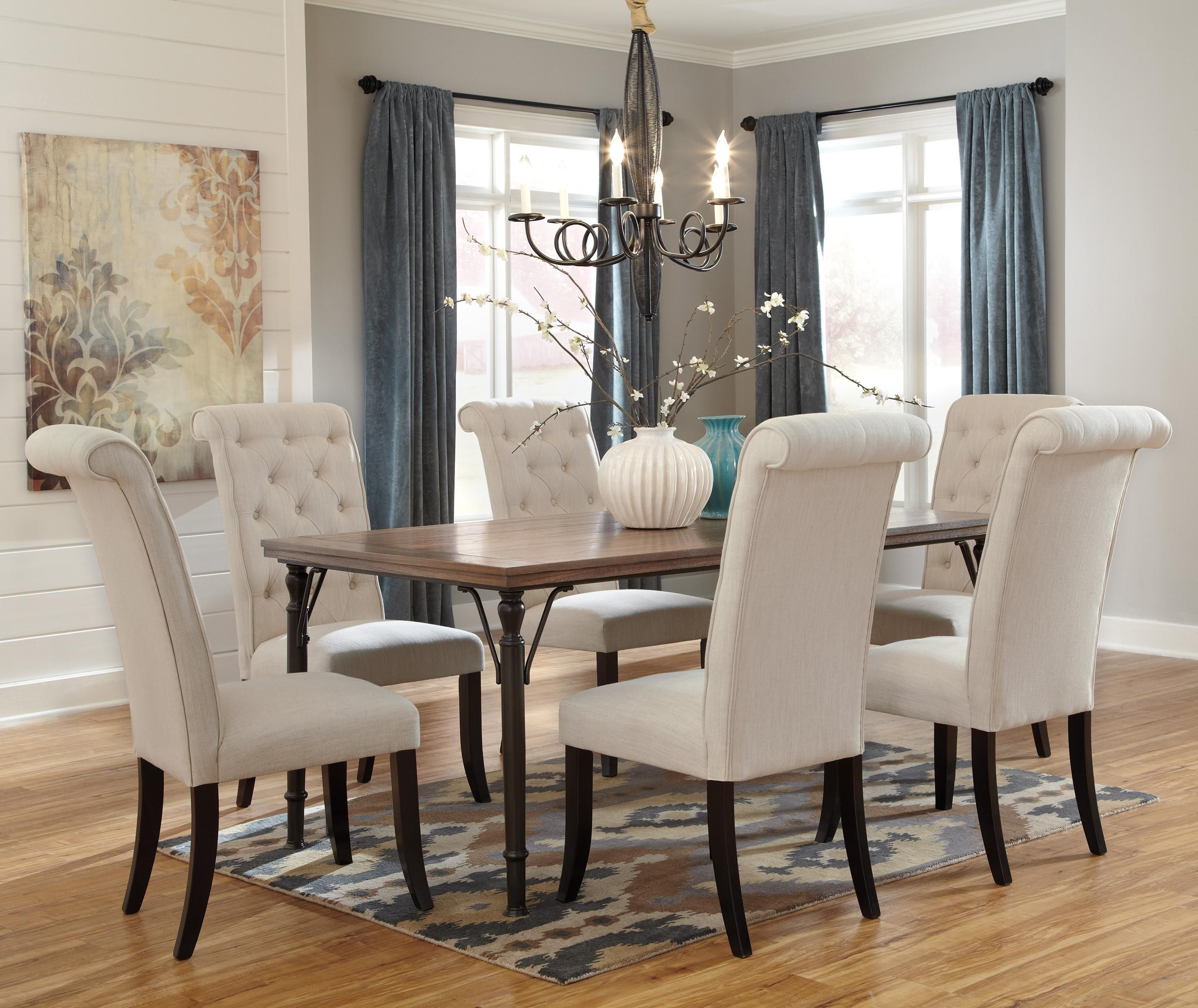 Dining table sets wood and metal dining tables wood and metal dining - Tripton 7 Piece Rectangular Dining Room Table Set W Wood Top Metal Legs By Signature Design By Ashley Furniture
