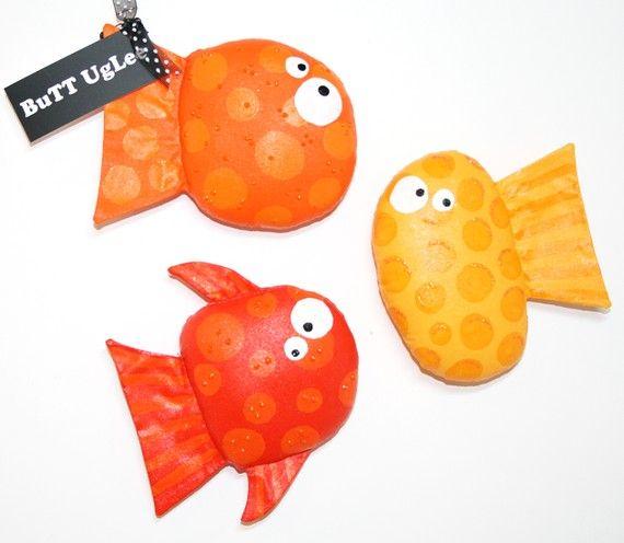 GoldFish ...Group of Three Fish ... BuTT UgLee ... Orange