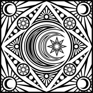 Celestial Boxes In Black And White Moon Coloring Pages Mandala Coloring Pages Mandala Coloring