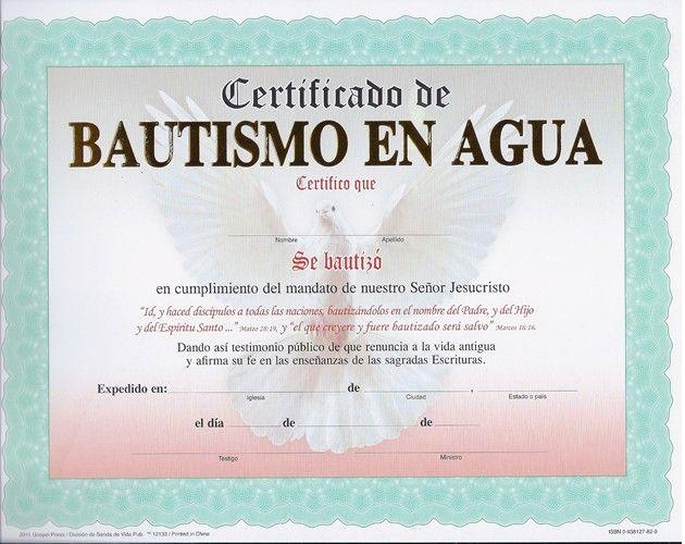 La Roca Certificado De Bautismo Con Marco Aqua Y Paloma Senda De Vida Bautismo Cristiano Bautismo En Agua Bautismo
