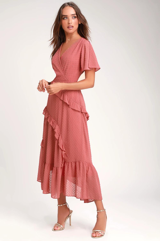 Next To You Rusty Rose Swiss Dot Ruffled Midi Dress Midi Ruffle Dress Nice Dresses Womens Dresses [ 1500 x 1000 Pixel ]
