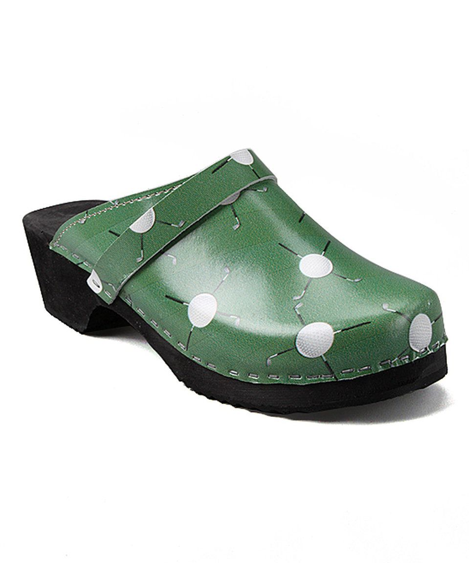 Take a look at this Green Leather Golf Clog - Women today!