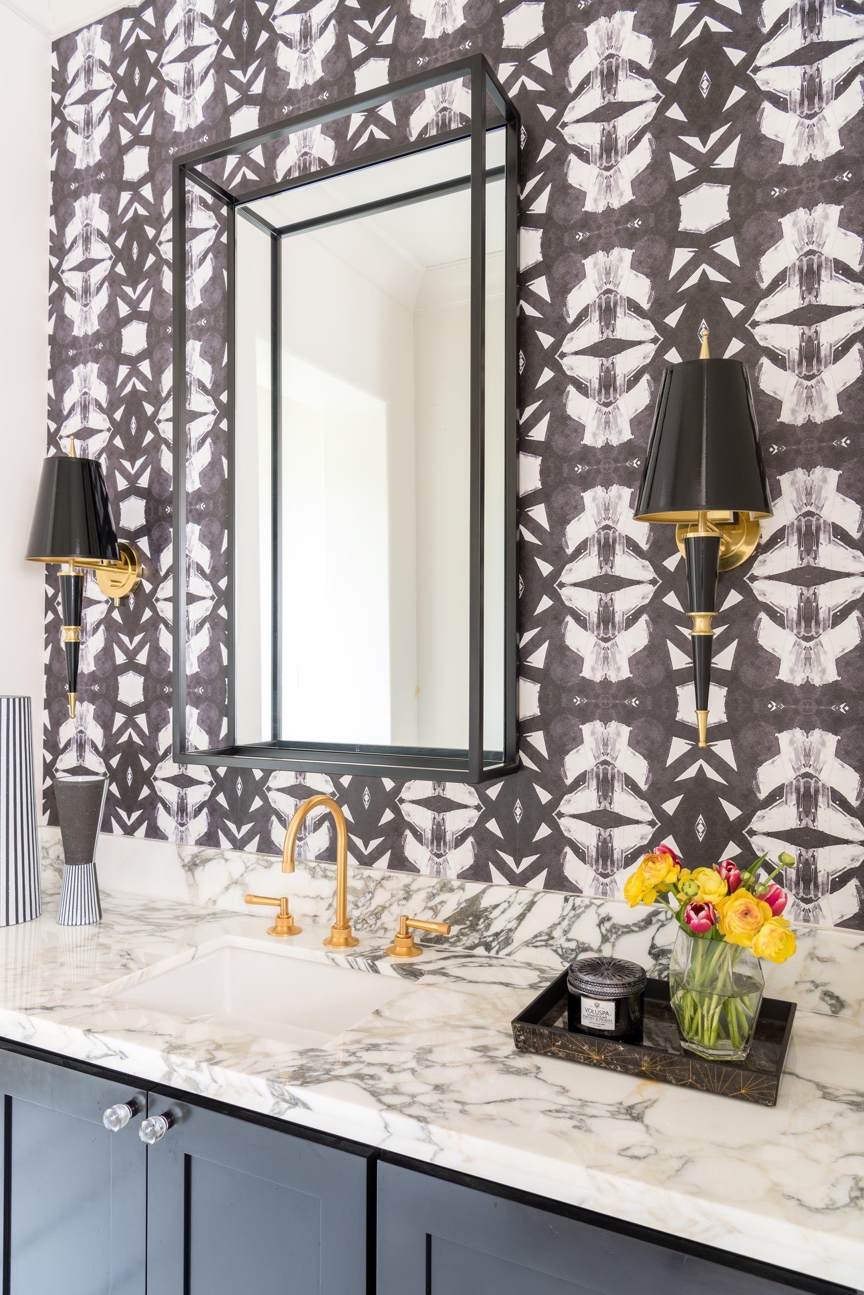 Gorgeous Bathroom Featuring Custom Wallpaper And Gold And Crystal Hardware By Laura U Inc Lookbook Derin Bathroom Mirror Stylish Bathroom Bathroom Design