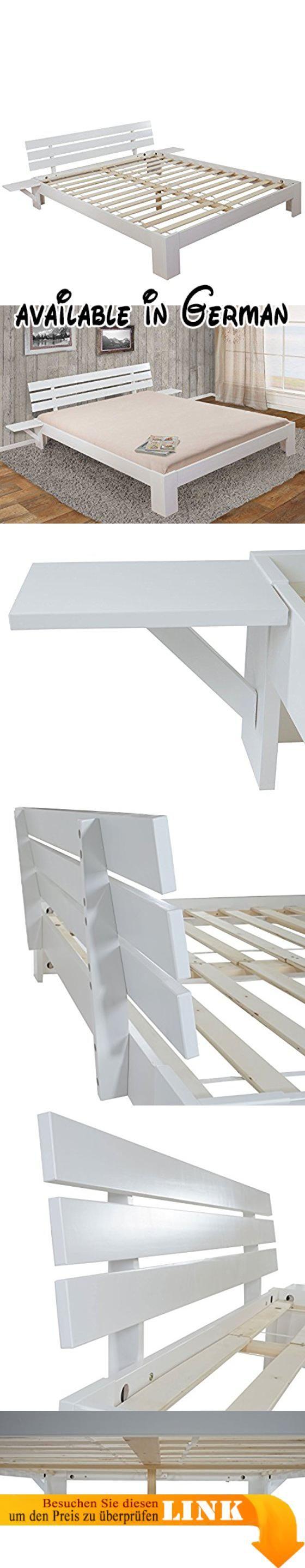 b015itlf56 bett perth doppelbett massivholz incl lattenrost ablage kiefer 160x200cm weiss lackiert geeignet fur matratzen in der grosse 160x200