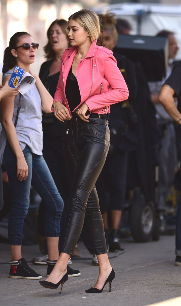 01ac6ab4cde3 Pin for Later  Gigi Hadid Knows How to Rock a Pair of Leather Pants We re  getting some Grease Pink Lady vibes.