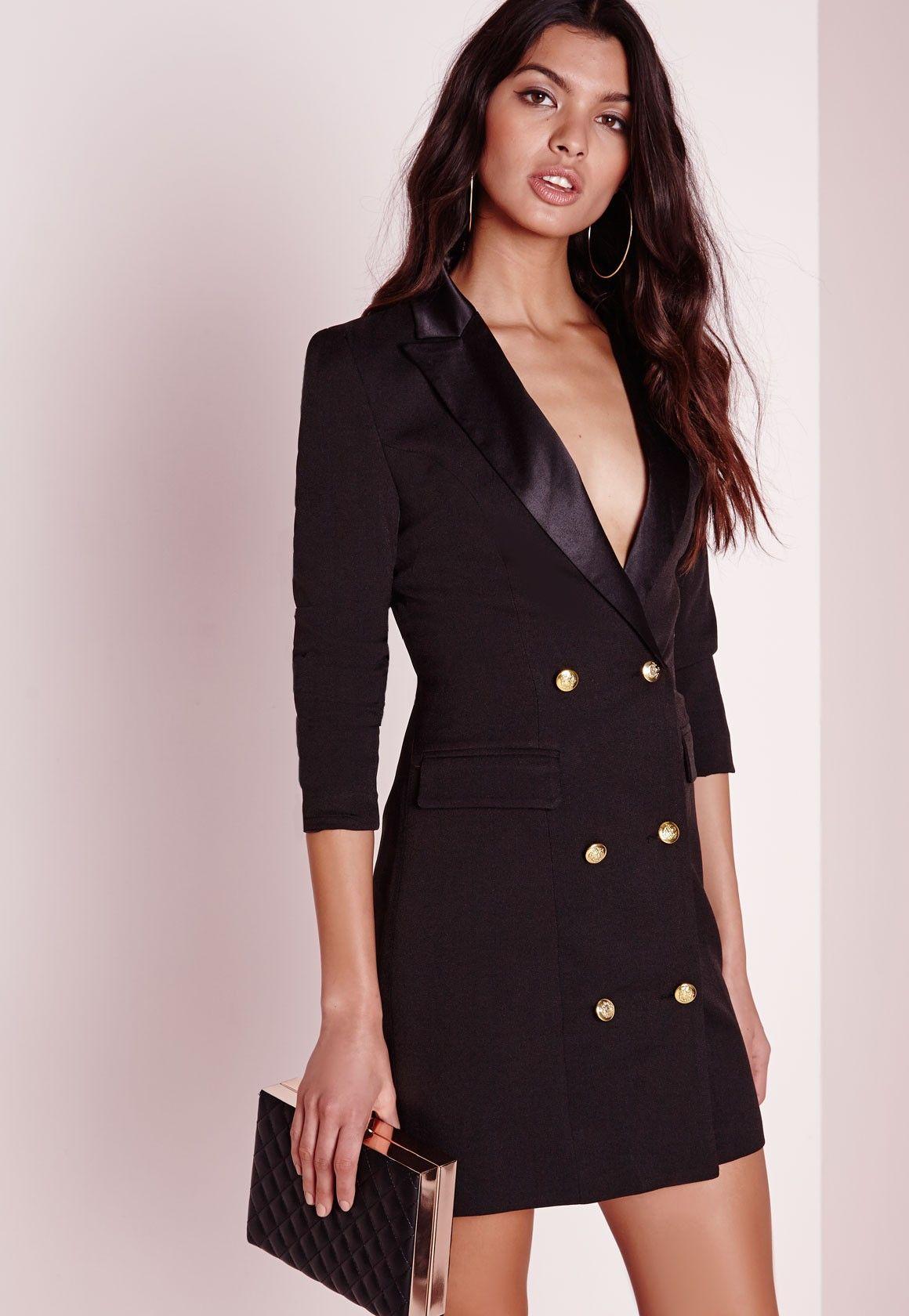 Missguided - Long Sleeve Tux Dress Black  6da58375f