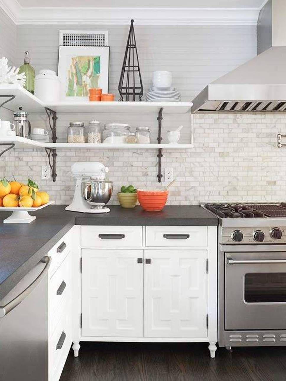 Grey countertops (edge cut), white marble