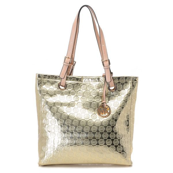 a583926bf7ae0 Michael Kors Monogram Mirror Metallic North South Tote Gold Products  Description   Monogram mirror metallic North South tote in gold.   Golden  hardware.